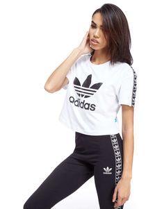 adidas Originals Tape Crop T-Shirt - Shop online for adidas Originals Tape Crop T-Shirt with JD Sports, the UK's leading sports fashion retailer.