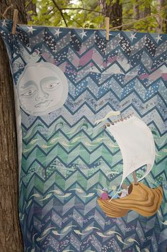 amylewwho: Wynken Blynken and Nod by Bippidiiboppidii by Spoonflower Fabrics on Flickr.