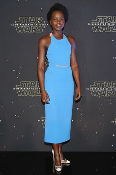 Lupita Nyong'o in Roland Mouret at the Mexico City photocall for Star Wars: The Force Awakens on December 8, 2015.