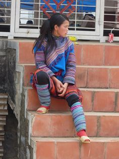 Rainbow #hmong girl, #BacHa market, #Vietnam