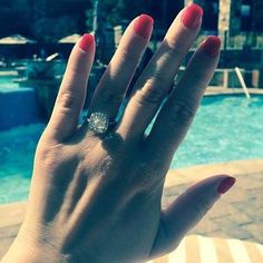 Wear your #Diamond #Halo #Engagement #Ring by the #pool we make stunning  #engagementring s right here in #Vancouver #alwaysbeautifuldiamonds #bridal #wedding #inspired #love #forever #sparkle #Engaged