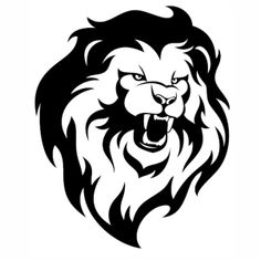 Lion head roaring mascot logo template Royalty Free Vector