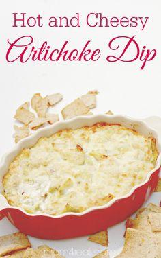 4 Ingredient Hot Artichoke Dip Recipe Easy Hot and Cheesy Artichoke Dip Recipe Artichoke Parmesan Dip, Hot Artichoke Dip, Artichoke Recipes, Appetizer Dips, Yummy Appetizers, Appetizer Recipes, Dinner Recipes, Yummy Recipes, Tapas