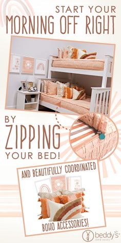 """Start your morning off right! With Beddy's we make it easy! All you do is zip! Use code """"PINTEREST"""" for a discount! #beddys #beddysbeds #zipperbedding #zipyourbed #bunkbeds Cute Girls Bedrooms, Kid Bedrooms, Floral Bedroom Decor, Beddys Bedding, Zipper Bedding, Gypsy Living, Camper Life, Make Your Bed, Remodeled Campers"""