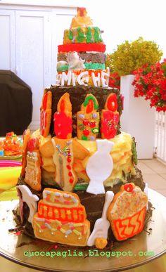 torta fatta da Arianna per i suoi 7 anni con le amiche del cuore