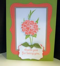 Stampin' Up Card - Calypso Coral and Pear Pizzazz In Colors