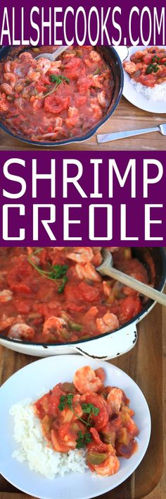 Easy recipe for Shrimp Creole with rice. Easy one pot meal that makes enough to serve 4-6 for dinner. Healthy and flavorful shrimp recipe.