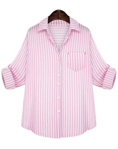 e97d5403517 Vertical Stripe Pocket Pink Blouse 15.17 Striped Long Sleeve Shirt