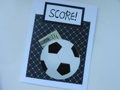 Soccer Ball Happy Birthday Handmade Greeting Card with white and black soccer ball - pocket for money gift or a note or just as is