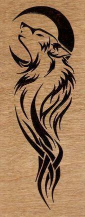 Black Tribal Moon And Wolf Tattoo Design Kunst Tattoos, Body Art Tattoos, New Tattoos, Sleeve Tattoos, Tatoos, Hand Tattoos, Wolf Tattoo Sleeve, Celtic Tattoos, Temporary Tattoos