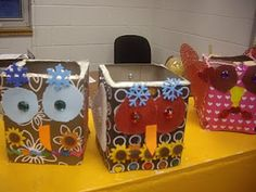 Cute Valentine Holders for Owl Themed Classroom. Since you have all those empty tissue boxes!!!!!!