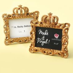"Buy FashionCraft ""Make it Royal"" Gold Baroque Crown-Topped Frame and other party favors and personalized gifts. Royal Wedding Themes, Royal Weddings, Disney Weddings, Wedding Gifts For Guests, Wedding Favors Cheap, Wedding Ideas, Rocky Balboa, Party Gifts, Party Favors"