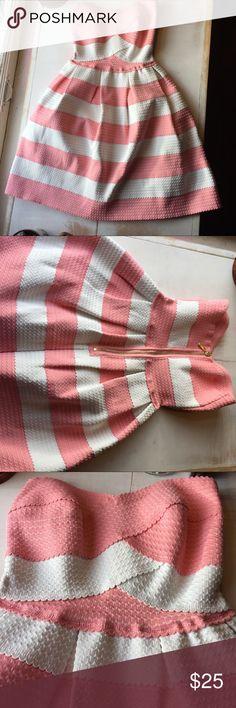 Cute B Darlin summer dress. #sundress Coral and white striped strapless sun dress. Very structured. Would make a perfect event dress. Grad parties or weddings anyone? Skirt measures 18 inches from bust. B Darlin Dresses Mini