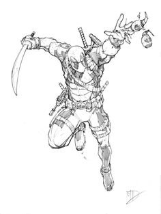 Deadpool by Max-Dunbar on DeviantArt Marvel Art, Marvel Comics, Cartoon Drawings, Art Drawings, Comic Character, Character Design, Harley Queen, Deadpool Art, Superhero Coloring
