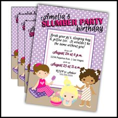 Slumber party invitations, pajama party invitations, sleepover party invitations....whatever we choose to call them doesn't change the fact that these girls birthday party invitations are so super cute that we can hardly stand it. Seriously! My daughter's sleepover party is this weekend. :) Our birthday invitations are cut with laser precision and are never hand cut and we print our invitations with color-lok technology inks to ensure richer, brighter colors and bolder blacks for crisp…