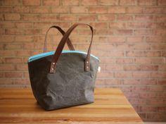 Waxed Canvas Zipper Tote in Dark Oak Small Vegan Day Bag by solaWu, $72.97