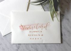 White Blush and Gold Ink Hand Lettering Envelope by afabulousfete