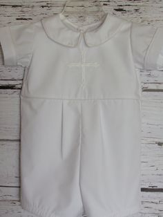 SHIPPING TIME ON THIS ITEM IS 4 WEEKS FROM THE DATE OF ORDER. IF YOU NEED IT BEFORE, IT MAY BE POSSIBLE WITH A RUSH CHARGE. PLEASE CONVO ME BEFORE PURCHASING.  This beautiful all white romper with solid white embroidered cross is the perfect outfit to use as a Christening, Baptism, Blessing or Baby Dedication outfit. Please convo me with special request. A matching blanket can also be ordered for an additional $30. This can be ordered is sizes NB, 3M, 6M, 9M, 12M, 18M and 24M. Outfit is made…