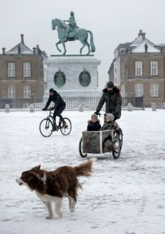 Crown Princess Mary on the bike at Amalienborg Castle after picking the twins, Prince Vincent and Princess Josephine up from daycare on January 11, 2016
