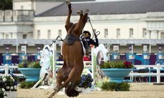 The modern pentathletes are dreadful at horse riding as evidenced here by South Korea's Hwang Woojin losing control of his horse during the Show Jumping event Photograph: John MacDougall/AFP/Getty Images - http://www.PaulFDavis.com/success-speaker (info@PaulFDavis.com)
