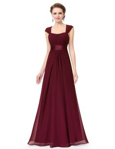 Amanda Evening Dress has a Queen Anne neckline This dress is fully lined with low stretch. Padded enough for no bra. Material: Chiffon+Satin