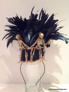 Skeleton Crown -Day of the Dead- Halloween crown- feather bones headband -black feather headpiece