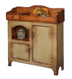 Primitive Storage Cabinet Cupboard Antique Look Farmhouse ...