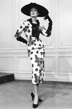 French model Patricia in ensemble by Jacques Fath, 1953