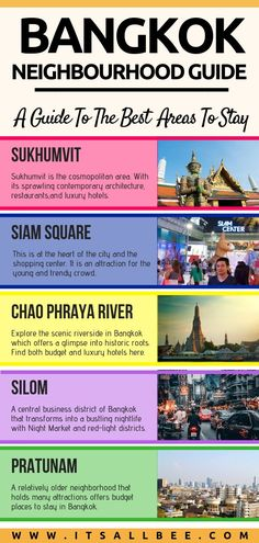 Heading to Bangkok? Then you need to read this post. A neighbourhood guide for Bangkok and all the best areas to stay in Bangkok, Thailand. Tips on where to stay for nightlife, family, where to stay for shopping, temples in Bangkok. #traveltips #vacation #thailand #asia #vacation #grandpalace #chaophrayariver  #besthotels