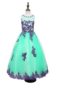 BlingblingDresses Floor Length Appliqued Beading Girls Pageant Dress Ball Gowns >>> Visit the image link more details.
