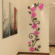 Mkono Stereo Acrylic Crystal Wall Sticker Home Decal Art Mural Decoration Pink flower vine M x *** You can find more details by visiting the image link. Large Wall Stickers, 3d Butterfly Wall Stickers, Wall Stickers Home Decor, Large Wall Art, Wall Stickers For Living Room, Wall Painting Decor, Diy Wall Art, Diy Wall Decor, Diy Art