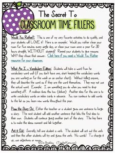 Activities for filling wasted time in the classroom.