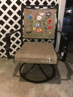 Life circumstances had halted my ability to creatively upcycle for several years, so you can imagine my excitement when I found this old abandoned chair in my new home where I could finally unpack my tools and crafts again. The chair was very comfortable, and I had a patio that needed furniture. But how to make it pretty and unique and still functional? My creativity had been dormant for too long.Some time later I was visiting my sister and found myself staring at her lawn chairs—ones I had ... Fall Door Decorations, Fall Decor, Faux Marble Countertop, Countertops, Wood Chargers, Set Of Drawers, Patio Makeover, Lawn Chairs, Garden Furniture