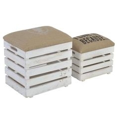 S_2 WOODEN STOOL_BOX IN WHITE-BROWN COLOR 40X30X44