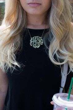 Alexa LeConche  She's Glitter and Gold  Monogram Necklace  Blonde  Starbucks  Kate Spade   Cactus