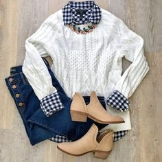 ShopStyle Look by KeciaDailey featuring Rib-Knit Sweater for Women and Gingham classic button-down shirt in boy fit Preppy Outfits, Preppy Style, Cute Outfits, Fashion Outfits, My Style, Womens Fashion, Fashion 2016, High Fashion, Fashion Trends