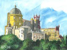 Palácio da Pena (Sintra/Portugal) - Aguarelas // Pena Palace (Sintra/Portugal) - Watercolors