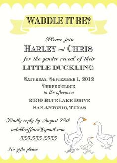 PRINTABLE Waddle It Be Baby Duck Gender Reveal Party Shower Invitation - colors can be changed. $15.00, via Etsy.