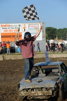 PHOTO GALLERY: Enterprise staff writer Ben Paulin gave a good account of himself at the demolition derby on Saturday night at the Brockton Fair.