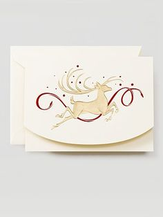 Crane Co Leaping Stag Holiday Cards