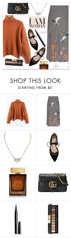 """""""I AM WOMAN"""" by mycherryblossom ❤ liked on Polyvore featuring Stella Jean, André Assous, D&G, Gucci and Yves Saint Laurent"""