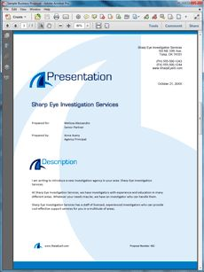 Private Eye Investigation Services Sample Proposal - Create your own custom proposal using the full version of this completed sample as a guide with any Proposal Pack. Hundreds of visual designs to pick from or brand with your own logo and colors. Available only from ProposalKit.com (come over, see this sample and Like our Facebook page to get a 20% discount)
