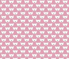 Adorable pink kitten fun cat illustration in scandinavian abstract style print for kids and cats lovers. Fabric by Little Smilemakers Studio on Spoonflower - custom fabric & wallpaper. Home decor, baby nursery and fashion inspiration.