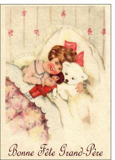 Carte Petite fille bonne fête grand-père pour envoyer par La Poste, sur Merci-Facteur !
