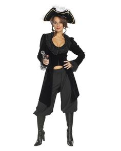 She Captain Black Adult Costume Description: Blimey! She's a lady! Most female pirates would disguise themselves as men ta protect their lovely little behinds, bu Adult Pirate Costume, Adult Costumes, Pirate Costumes, Girl Pirates, Female Pirates, Pirate Woman, Lady Pirate, Pirate Queen, Sexy Costumes For Women