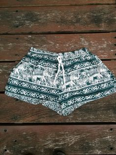 Green Elephant Shorts Print Beach Hippie Tribal pants by ScarfByMe