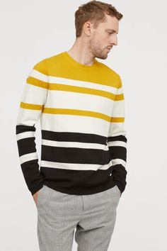 Striped, fine-knit sweater in a soft cotton blend. Ribbing at neckline, cuffs, and hem. Yellow Sweater Mens, Black Sweater Outfit, Mens Fashion Sweaters, Mens Fashion Wear, Fashion Fashion, Fashion Ideas, Gents Sweater, Men's Tanks, Baseball Tees