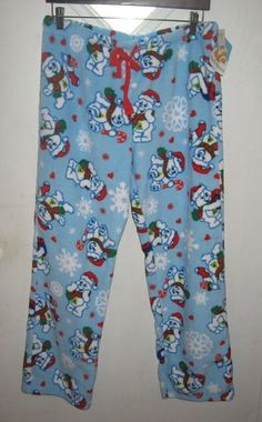 Care Bears Juniors Blue Christmas Holiday Snow Fleece Pajama Pants L 11 13  NWT Blue Christmas b46c9db49