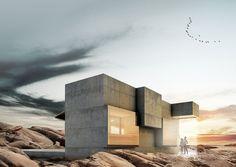 Arkitektbyrån Bornstein Lyckefors har ritat ett 25 kvm stort attefallshus med integrerat vattenfall från taket. Designen påminner om en lång betonglåda.