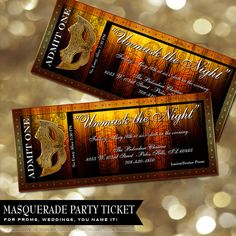 Movie Masquerade Prom Ticket Wedding, birthday, anniversary, sweet 16, Reception, Party Tickets invitations invites    This gold and black toned